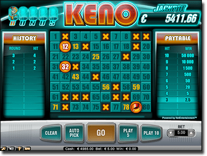 Bonus Keno for Real Money at Guts Casino