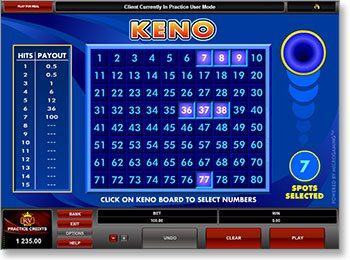 Online Keno Real Money Gameplay
