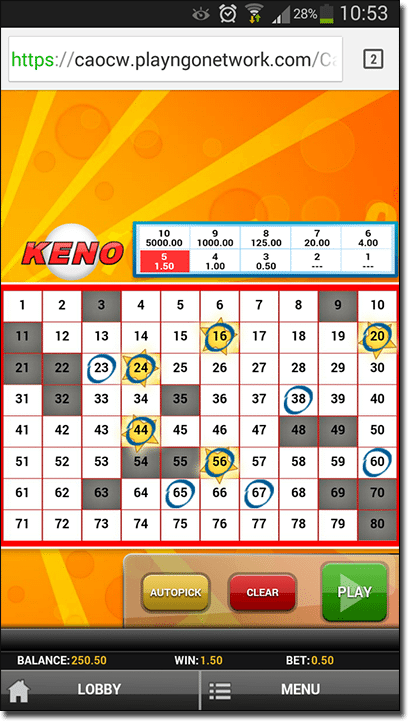 Mobile Keno at Thrills Casino