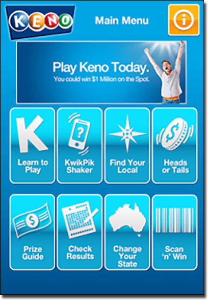 Tabcorp Keno app for Android smartphones and tablets