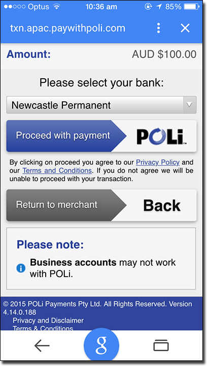 POLi casino banking deposits on iPhone