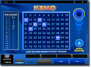 Try Microgaming keno at All Slots Casino