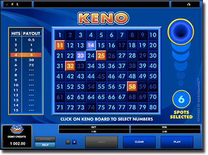 club keno payouts