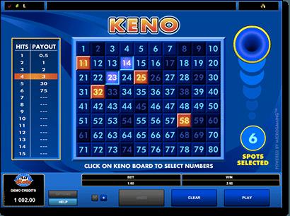 Keno slot payouts