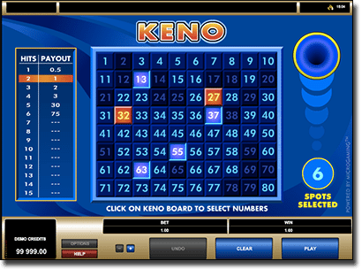 Play real money online keno by Microgaming