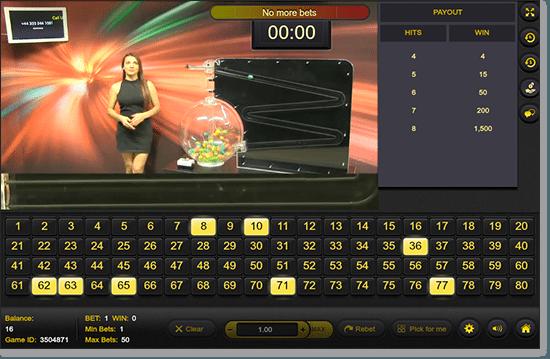 G'Day Casino - Live Dealer Keno