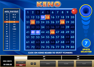 Online keno by Microgaming
