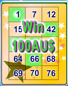 Disco Keno winning card