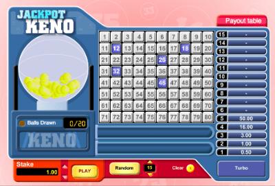 Online jackpot keno