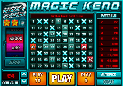 Online keno is available at many online casinos
